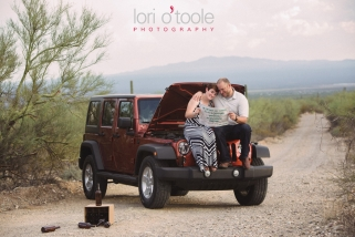 Lost in the Desert engagement ; Karla and Greg: Lori OToole Photography; Tucson engagement photos