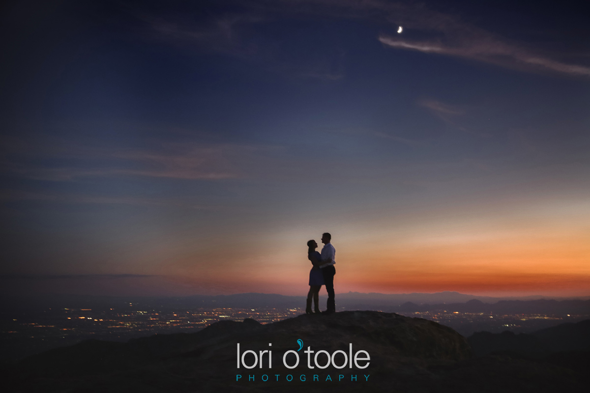 Mt Lemmon engagement photos; Lori OToole Photography; Tucson sunset engagement